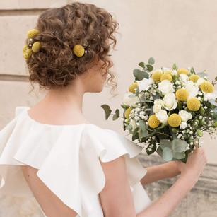 Bouquet de mariée jaune et blanc