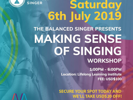 """Event: """"Making Sense of Singing"""" Workshop by The Balanced Singer & Institute for Vocal Advancement"""