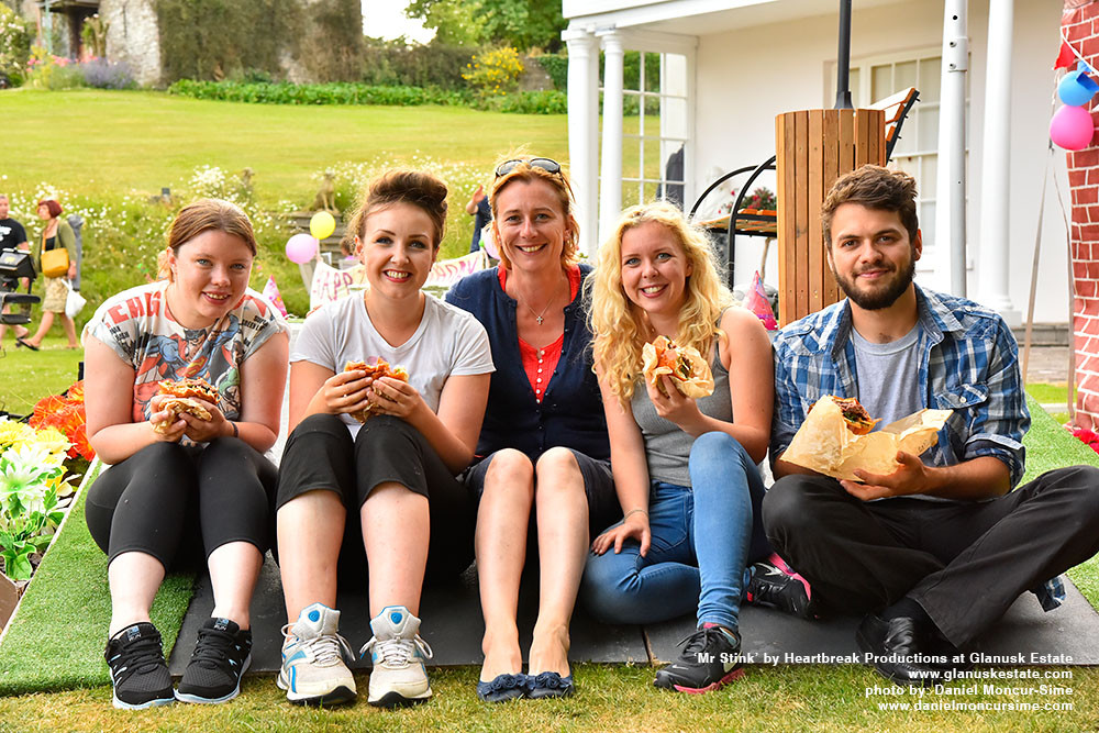 Some of the cast with Iona Legge-Bourke (centre) enjoying street food from Sugarloaf Catering