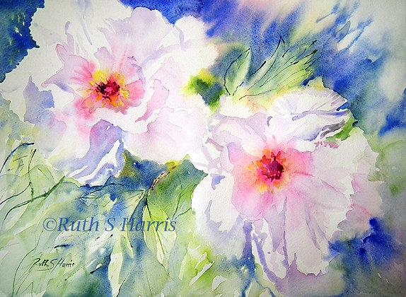 Peony Perfection original watercolour painting