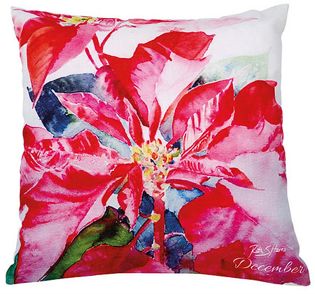 Poinsettia - December flower of the month cushion