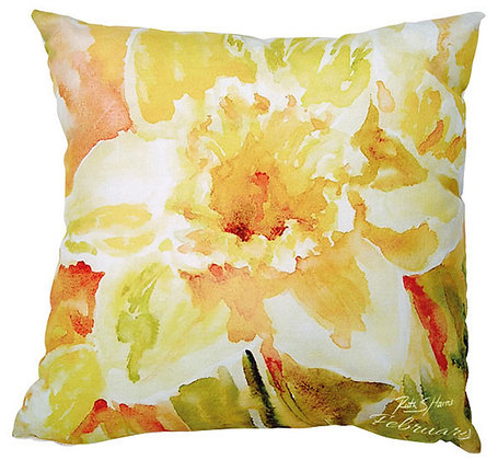 Daffodil - February flower of the month cushion