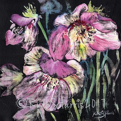 Lenten Roses original mixed media painting