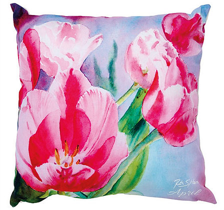 Tulips - April flower of the month cushion