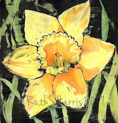 Spring Daffodil original mixed media painting