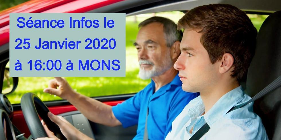 Séances Infos  à MONS - Formation Moniteurs 25 Janvier 2020