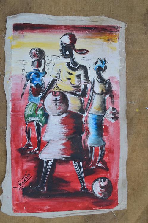 Peinture sur toile du Bénin Grande
