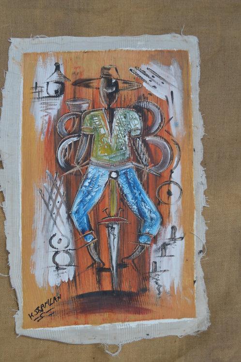 Peinture sur toile du Bénin Personnages