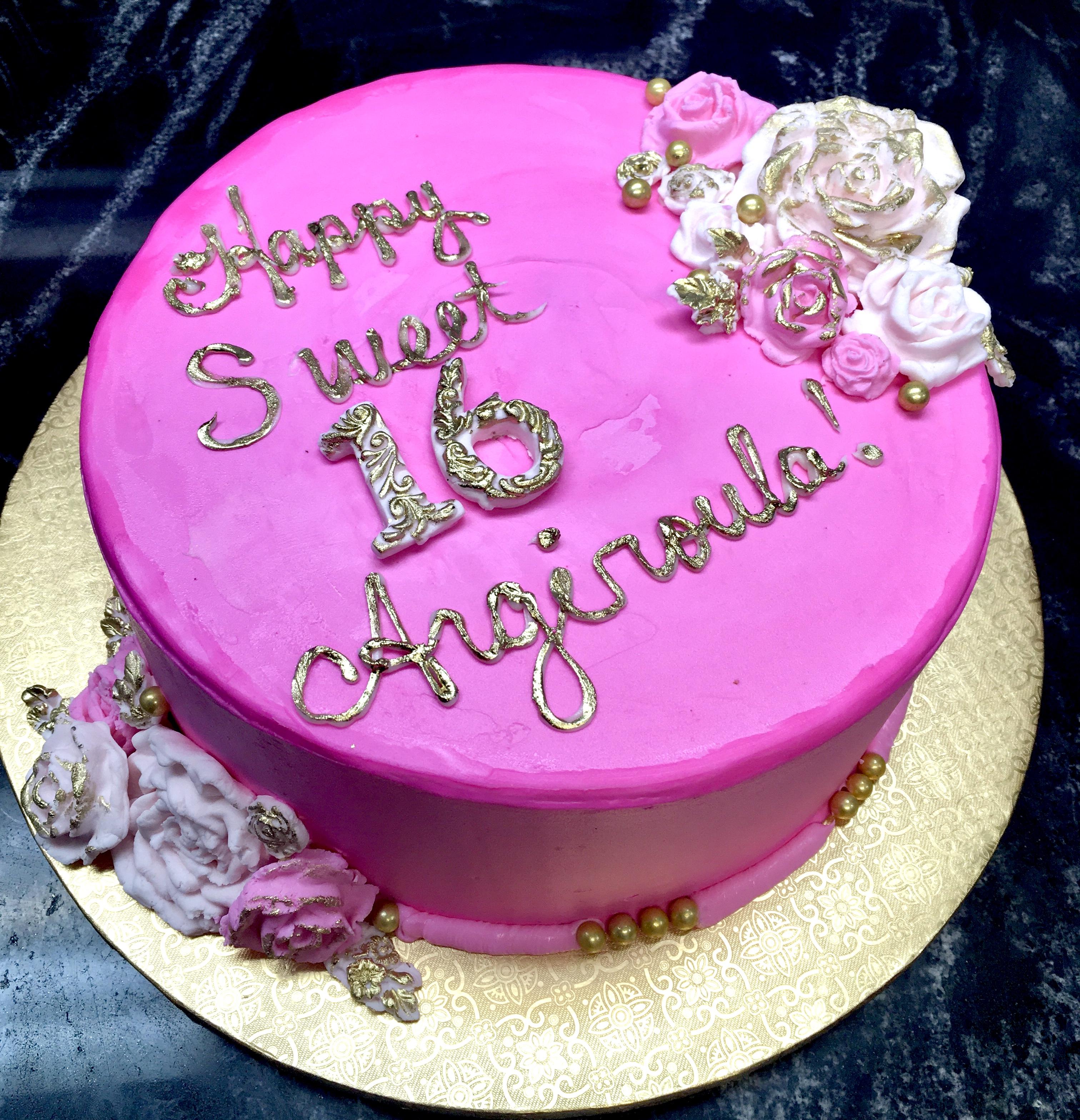 Pink & Gold Floral Cake