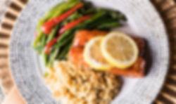 seafood, salmon, lemon, bourbon, glaze, vegetables, entree, dinner, reception