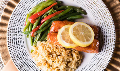 seafood, salmon, lemon, bourbon, glaze, vegetables, entree, dinner, reception