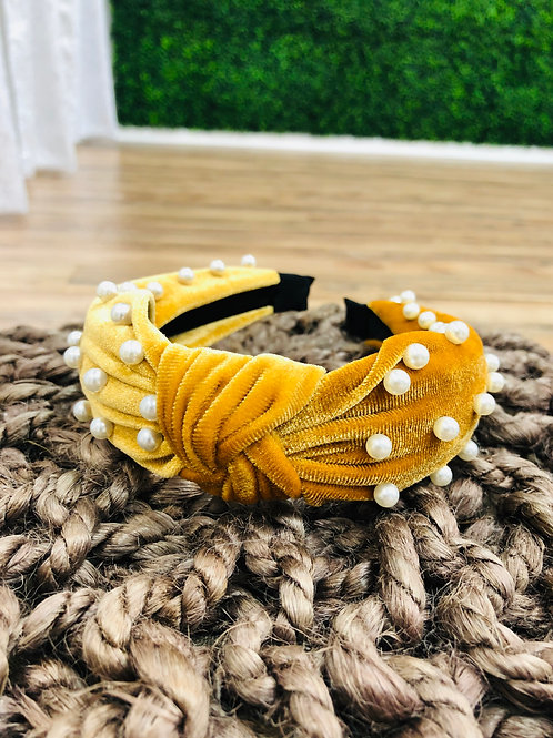Mustard Pearl Knot Headband