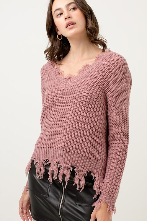 The Cozy Cool Sweater - Mauve