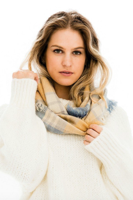 Wind Chill Scarf - Light Cream/Blue