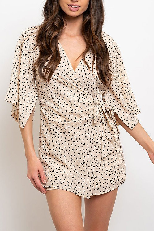 Spotted You Romper - Taupe