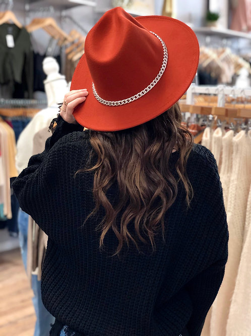 Fall Vibes Panama Hat - Rust