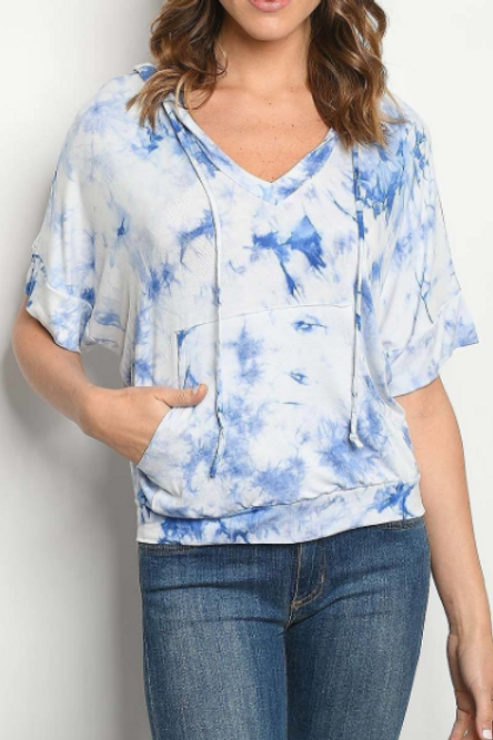 Cool Touch Tie Dye Top - Blue/White