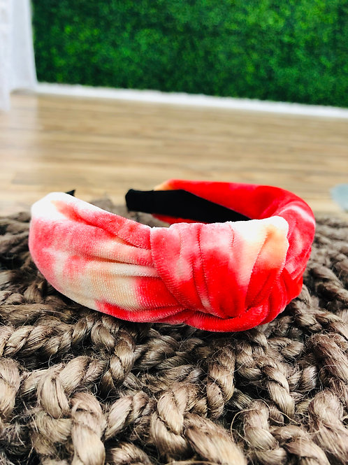 Tie Dye Knot Headband - Red Mix