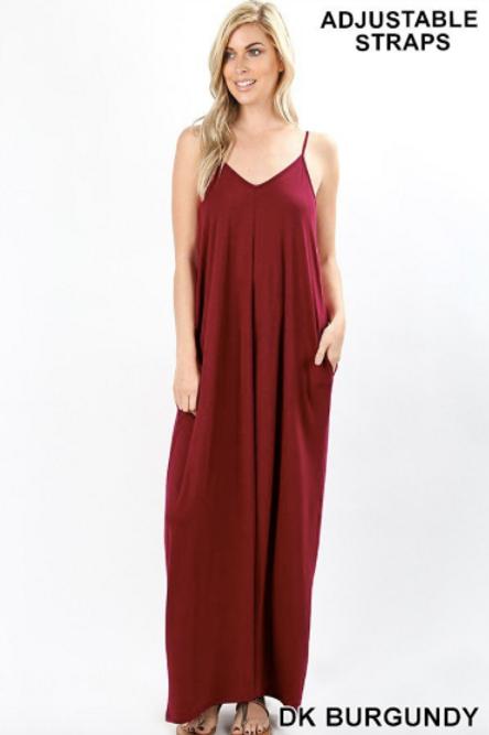 Sweetheart Maxi Dress - Dark Burgundy