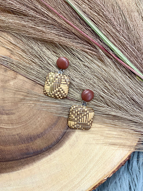 Woven Dangle Earrings - Brown