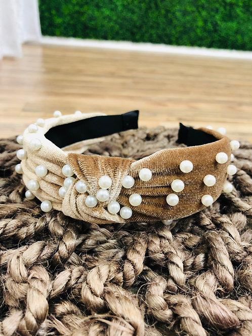Mocha Pearl Knot Headband