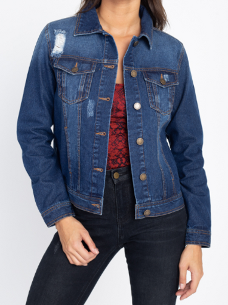 Chilling With You Denim Jacket - Dark Wash