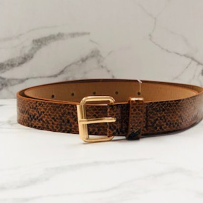 Snakeskin Print Belt - Camel Brown