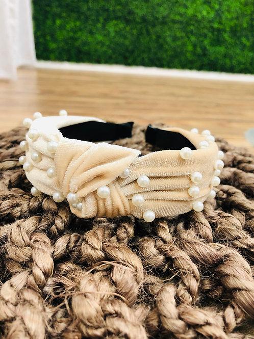 Taupe Pearl Knot Headband