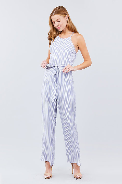 By The Bay Jumpsuit - Blue/White