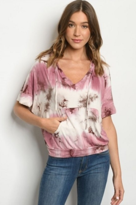 Cool Touch Tie Dye Top - Mauve/White
