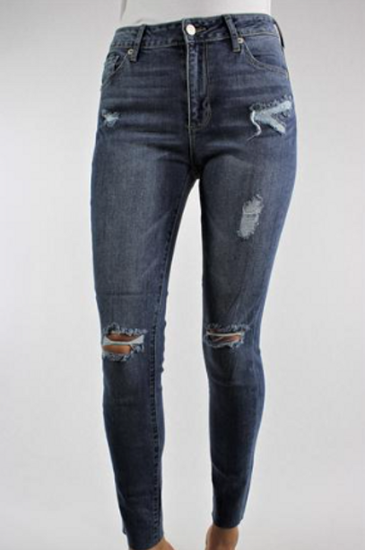 Meet Me Downtown Ripped Denim Jeans - Medium Wash