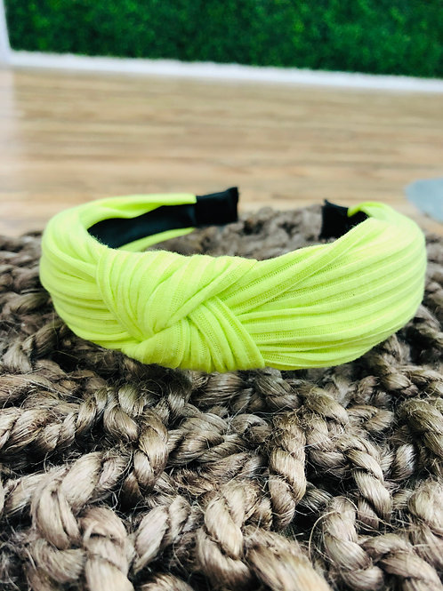 Neon Yellow Knot Headband