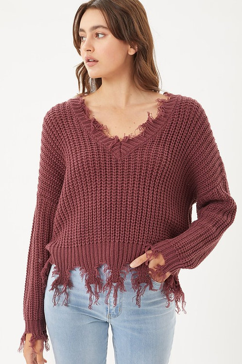 Fringe & Benefits Sweater - Cherry