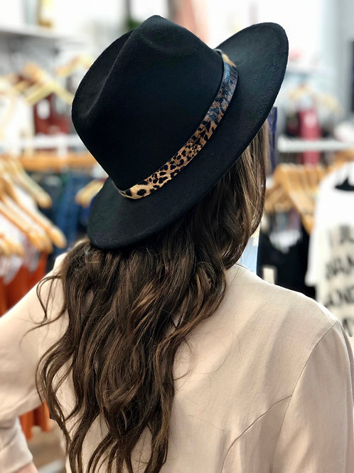 Touch Of Leopard Panama Hat - Black