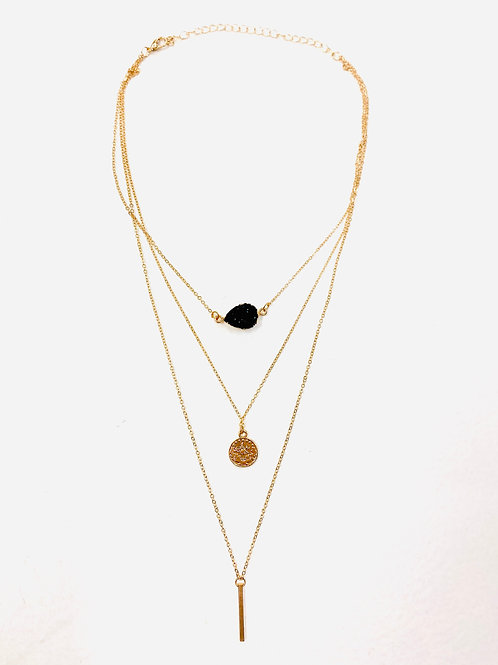 Black Druzy Layered Necklace