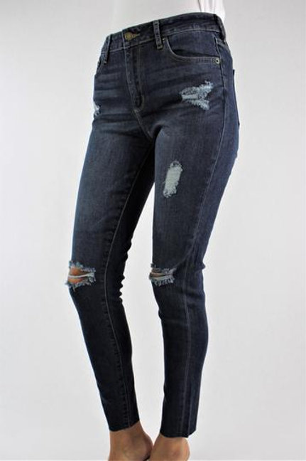 Meet Me Downtown Ripped Denim Jeans - Dark Wash