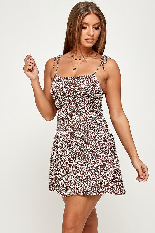 Rose To The Occasion Mini Dress - Brown