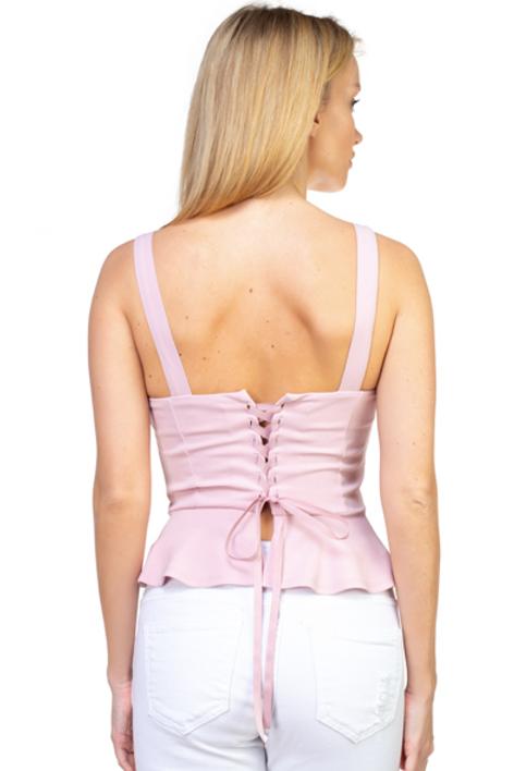 Lace Love Peplum Top - Blush