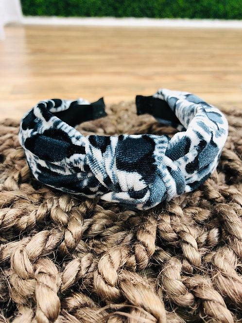 Leopard Print Headband - Navy/Gray