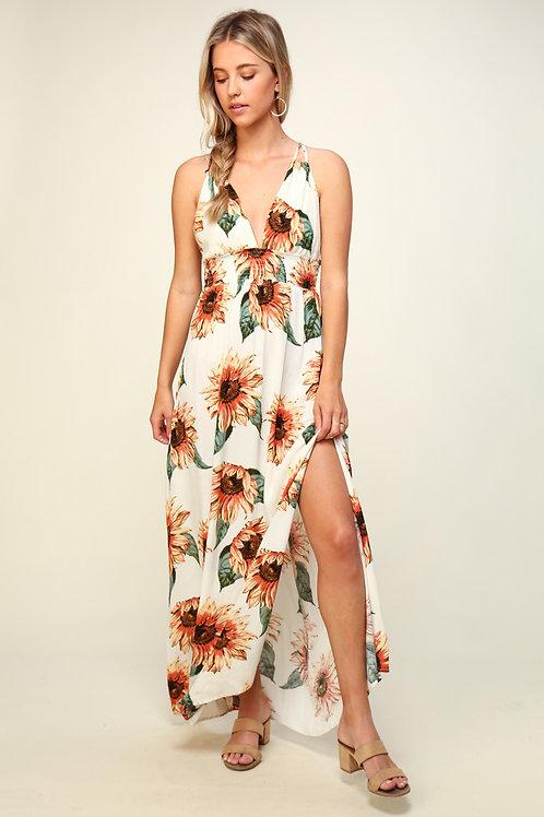 Sunflower Fields Maxi Dress - White
