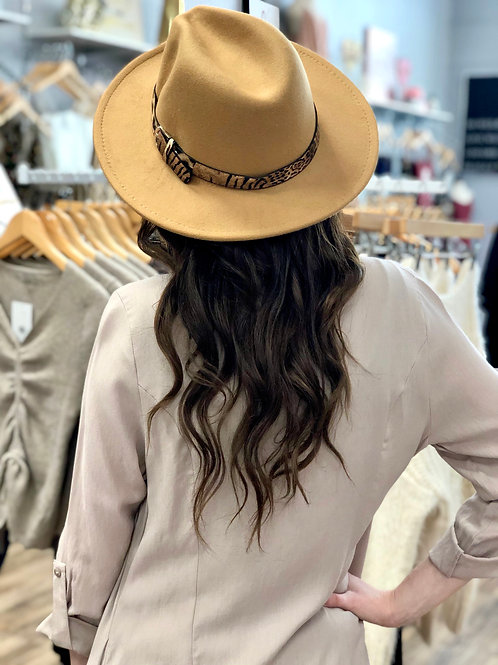 Touch Of Leopard Panama Hat - Camel