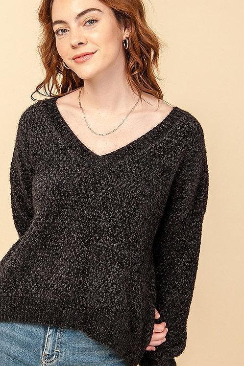 The Nashville Chenille Sweater - Black