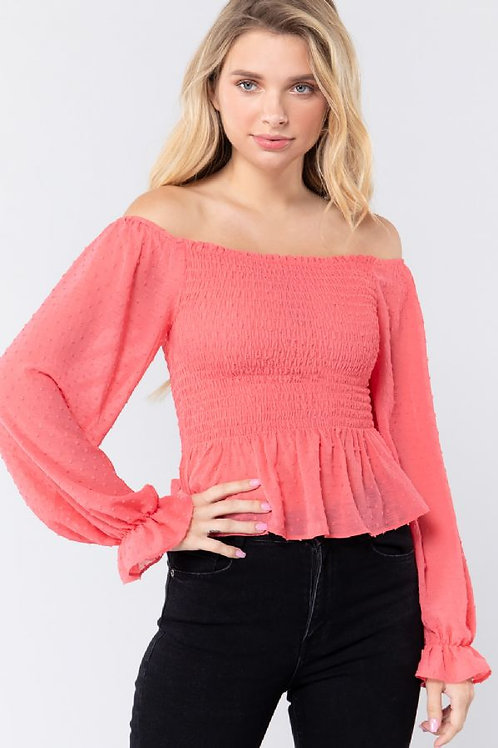 Feminine Times Blouse - Coral