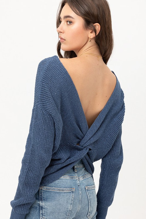 A Sparkly Night Sweater - Ocean Blue
