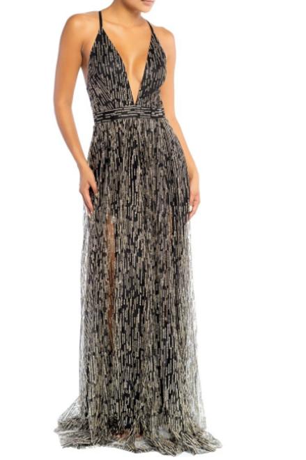 Anastasia Glitter Gown - Black