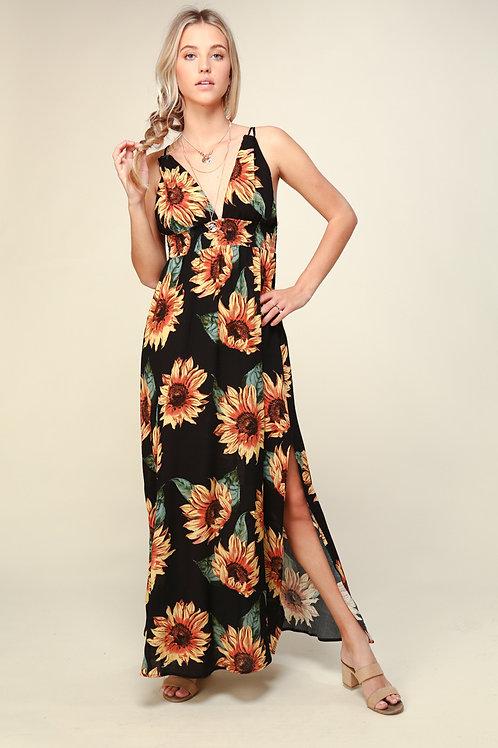 Sunflower Fields Maxi Dress - Black