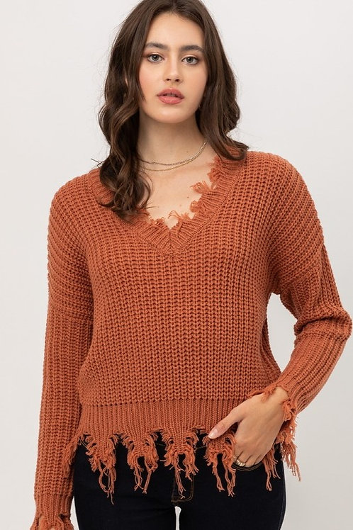 The Cozy Cool Sweater - Rust