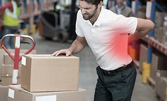 Worker with boxes hurt his back