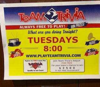 Team Trivia Tuesdays flyer