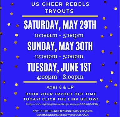 US Cheer Rebels cheer team tryouts 2021